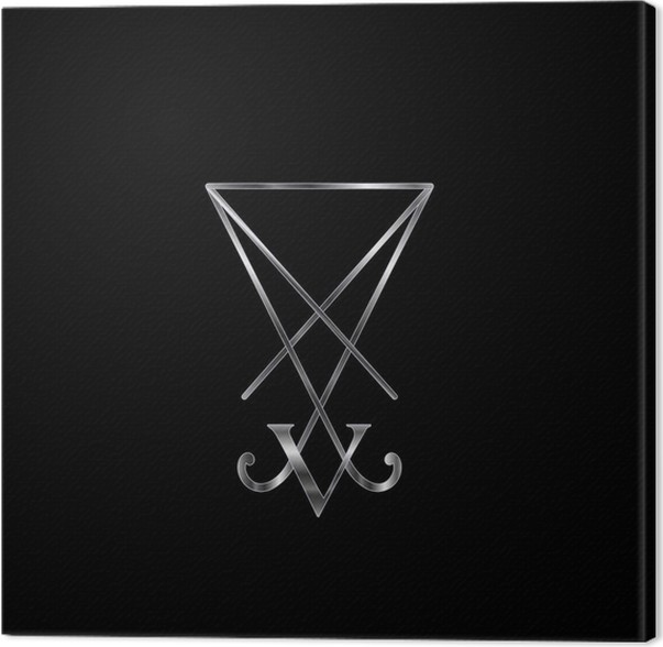 Sigil Of Lucifer In Silver Symbol For Satan Worshippers Canvas