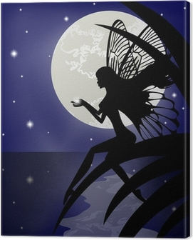 Silhouette fairy girl holding a star Canvas Print