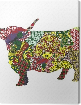silhouette of a Scottish highland cow in Celtic patterns Canvas Print