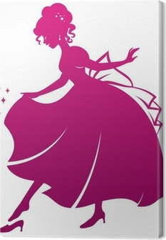 silhouette of Cinderella wearing her glass slipper Canvas Print
