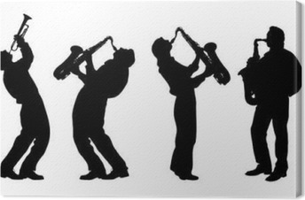 silhouette of jazz musician Canvas Print