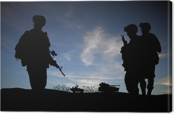 Silhouette of modern soldiers with military vehicles Canvas Print