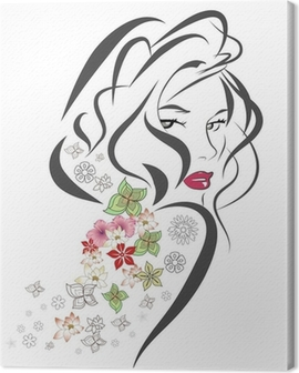 Silhouette of woman with flowers Canvas Print