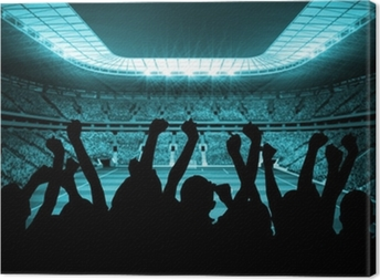 Silhouettes of football supporters Canvas Print