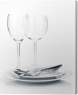 Silverware or flatware on plates and wine glasses Canvas Print