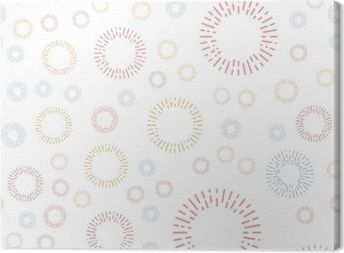 Simple seamless textile pattern with color round elements. Vector background illusrtration. Canvas Print