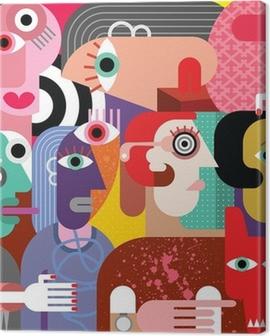 Six women and dog Canvas Print