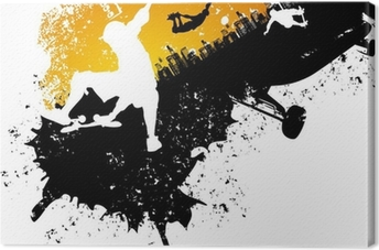 Skateboard abstract city background Canvas Print