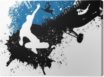 Skateboard freestyle abstract background Canvas Print
