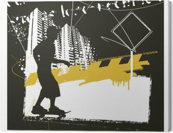 skater with grunge urban scene Canvas Print