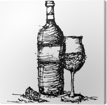 sketch drawing of wine bottle and glass Canvas Print