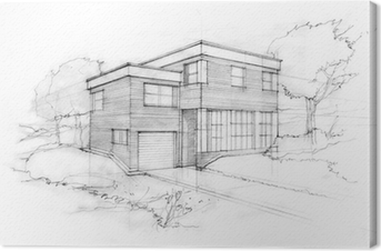 Sketch of a modern cubic house. First idea of an architect. Canvas Print