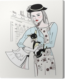 Sketch of fashion retro girl with a little dog Canvas Print