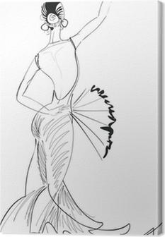 Sketch of flamenco dancer with fan Canvas Print