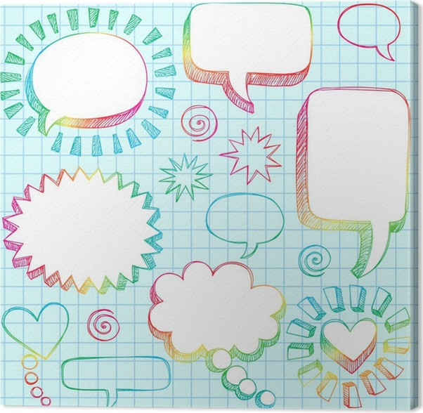 sketchy doodle speech bubble frames vector illustration canvas print