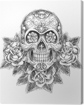 Sketchy Skull with Roses Canvas Print
