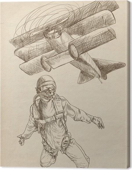skydiving parachutist full sized original hand drawing canvas