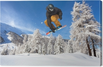 snowboarder in neve fresca Canvas Print