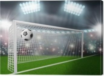 soccer ball flies into the goal Canvas Print