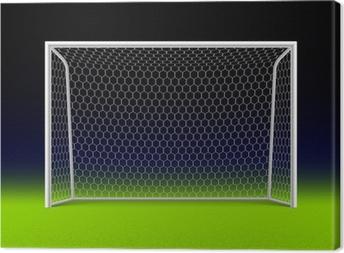 Soccer goal on black Canvas Print