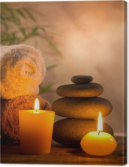 Spa still life with aromatic candles Canvas Print