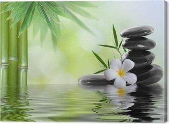 spa stones with frangipani Canvas Print