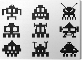 space invaders icons set - pixel monsters Canvas Print