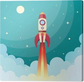Space rocket print Canvas Print
