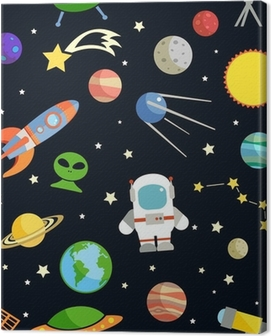 Space seamless pattern Canvas Print