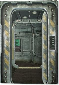 spaceship hatch and corridor background Canvas Print