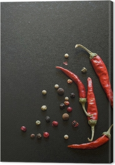 Spices on a blackboard Canvas Print