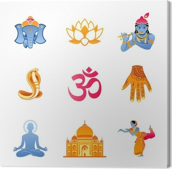 Spiritual, religious and culture icons of India Canvas Print