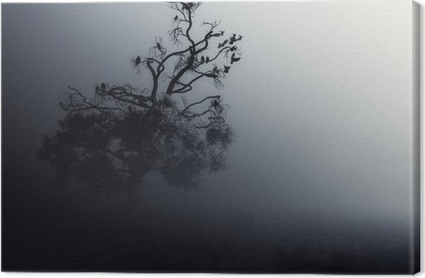 spooky tree dark night halloween background canvas print pixers