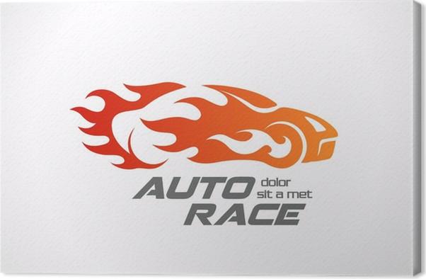 Sport Car Speed Race Logo Vector Design Template Canvas Print