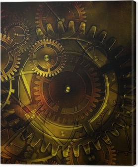 steampunk old gear mechanism on the background of old vintage pa Canvas Print