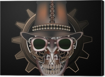 Steampunk skull wearing top hat Canvas Print
