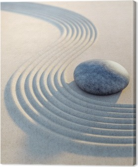 Stein und Wellen im Sand Hochformat Canvas Print