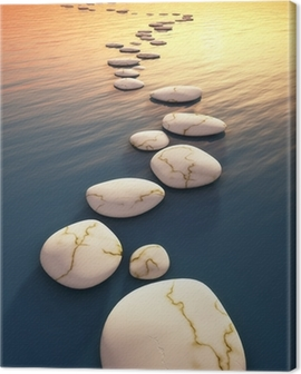 step stones sunset Canvas Print