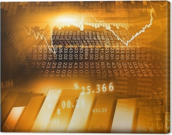 Stock Market Graph and business Bar Chart. Canvas Print