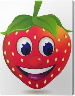 strawberry cartoon character Canvas Print