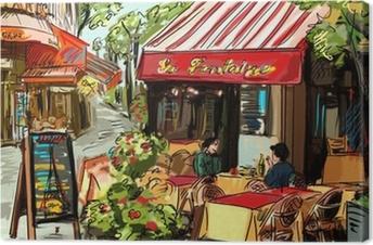 Street in paris - illustration Canvas Print