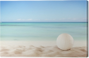 Summer beach with volleyball ball Canvas Print