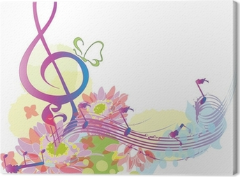 Summer music with decorative treble clef Canvas Print