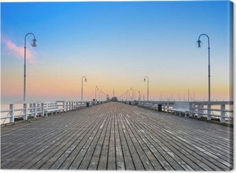 Sunrise at wooden pier in Sopot over Baltic sea, Poland Canvas Print