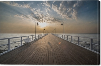 Sunrise on the pier Canvas Print
