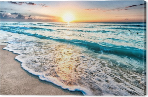 sunrise over cancun beach canvas print pixers we live to change