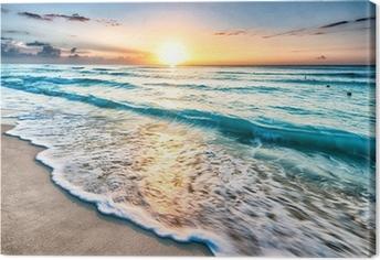 Sunrise over Cancun beach Canvas Print
