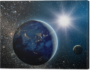 Sunrise over the planet and satellites in space. Canvas Print