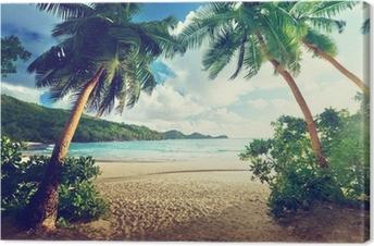 sunset on beach, Mahe island, Seychelles Canvas Print