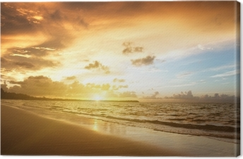 sunset on the beach of caribbean sea Canvas Print